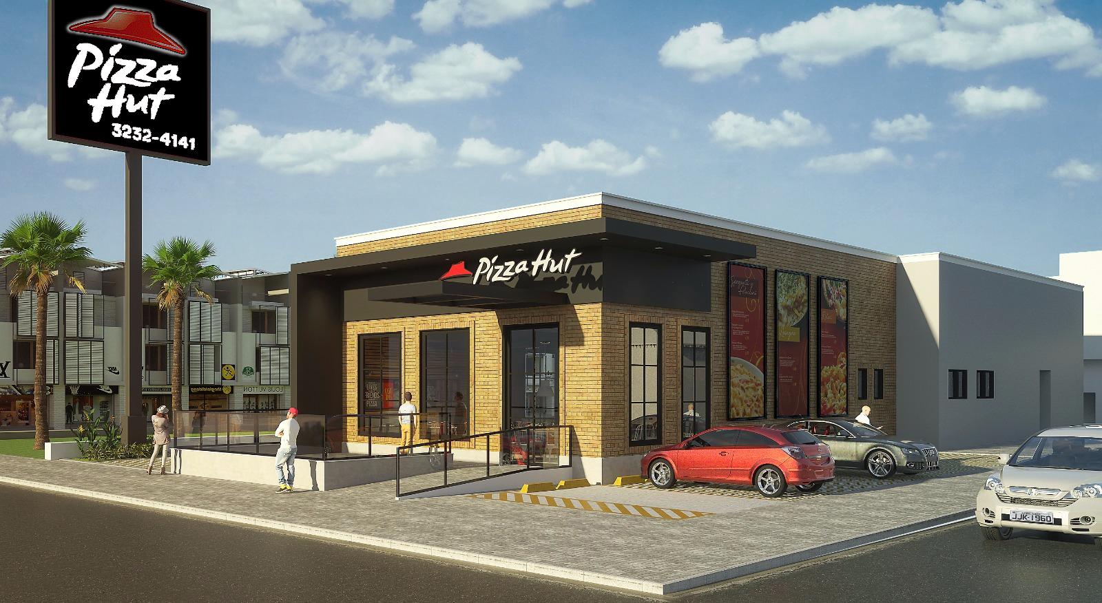 Perspectiva 3D da fachada da nova loja do Pizza Hut, que será inaugurada ainda em novembro em Natal