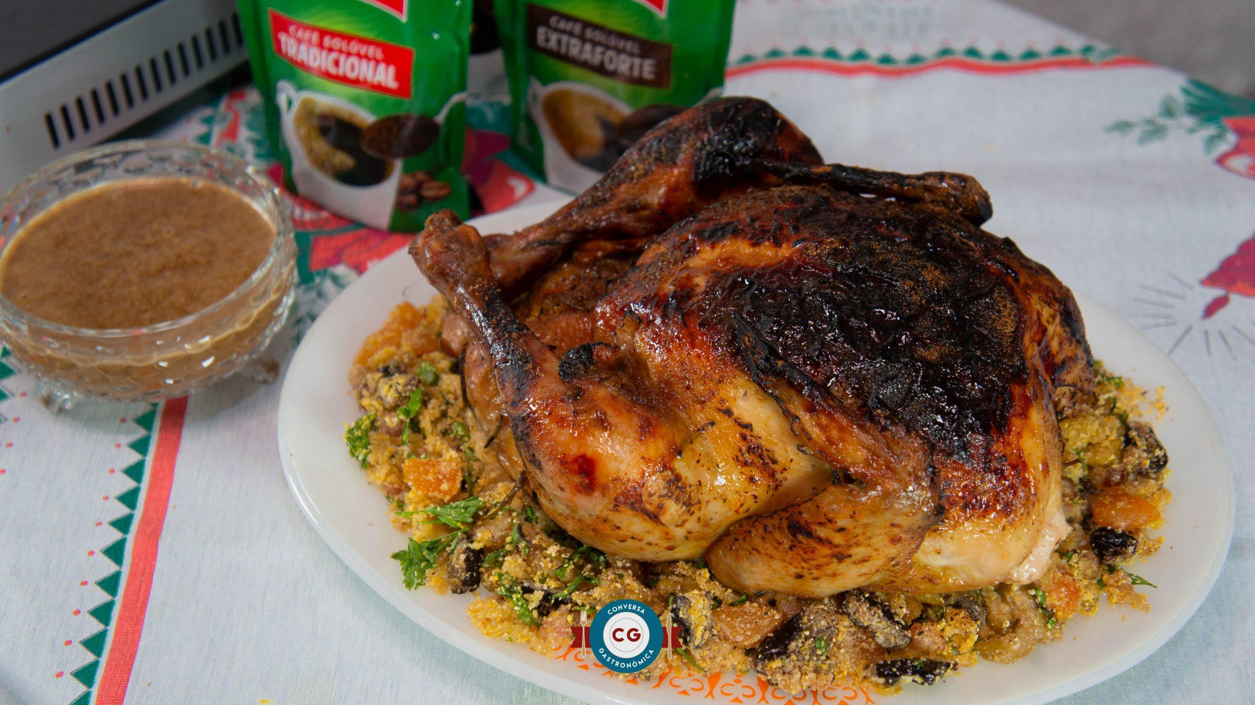 Sirva um frango com redução de café e farofa de Natal