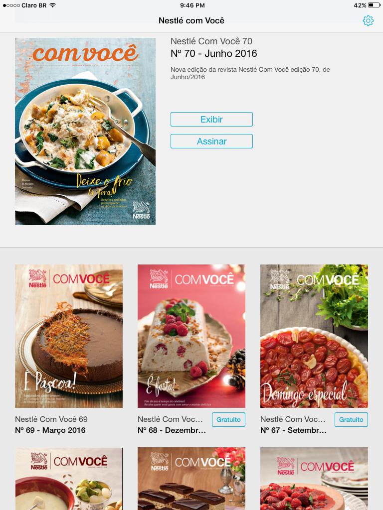 O aplicativo Nestlé com Você exibe todas as edições da revista
